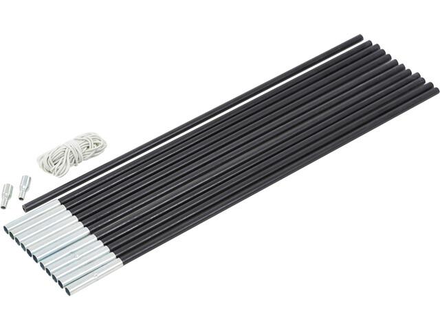 CAMPZ Glass Fibre Pole Set 9mm x 6,0m schwarz